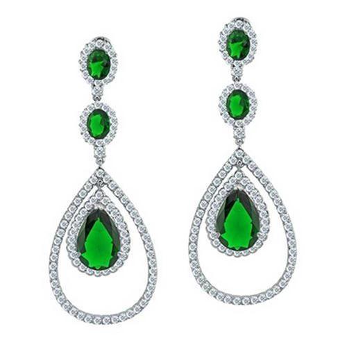 Bling Jewelry Simulated Emerald CZ Triple Teardrop Earrings Silver Plated