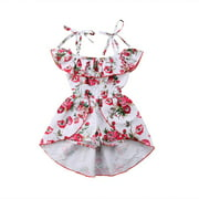 Toddler Infant Baby Girl Ruffle Sleeve Cold Shoulder Floral Jumpsuit Romper Dress Summer Clothes Outfit Princess