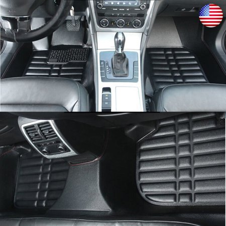 Black/Brown Car Floor Leather Front&Rear Liner Waterproof Mat For Toyota Camry