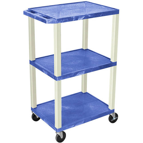 H. Wilson Tuffy 3-Shelf A/V Cart with Electric, Blue Shelves and Putty Legs
