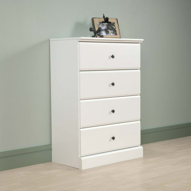 Sauder Parklane Transitional 4-Drawer Chest, Soft White Finish