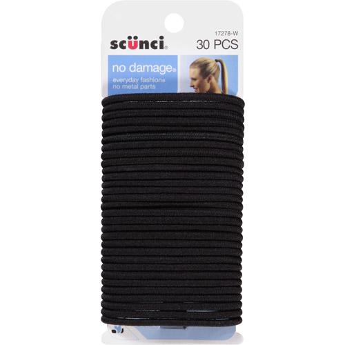 (2 Pack) Scunci No Damage Hair Ties, Black, 30 ct