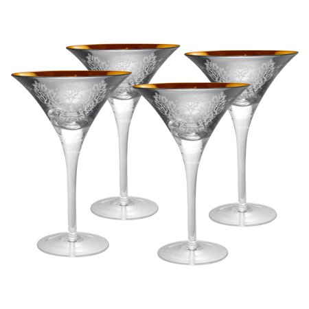 Artland Inc. Silver Brocade Martini Glasses - Set of 4 - Gold Martini Glasses