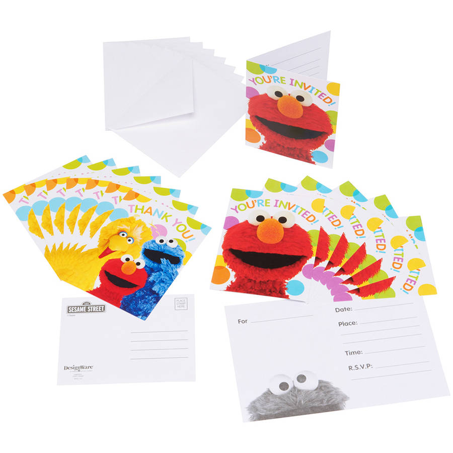 Elmo Invite and Thank-You Combo Pack, 8 Count, Party Supplies