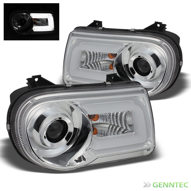 For 2005-2010 300C Chrome Daytime Running DRL-Light-Tube Projector Headlights Front Pair Left+Right/2006 2007 2008 2009