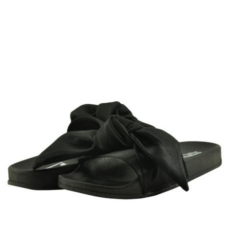 Cape Robbin Women's Shoes Moira 19 Open Toe Tied Satin Bow Slides Bow Tie Open Toe