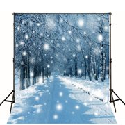 GreenDecor Polyester Fabric 5x7ft Photography Background Christmas Snow Photo Backdrop Winter Forest Scene