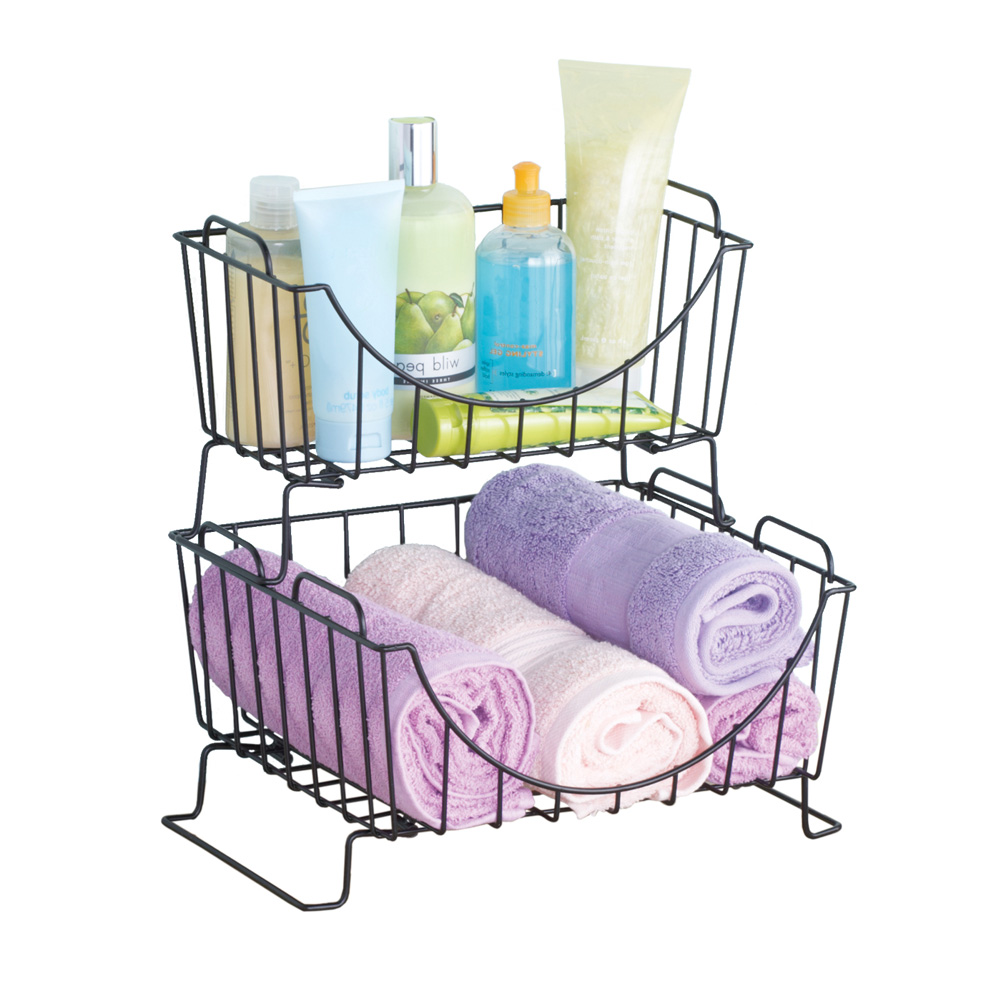 Stackable Wire Storage Baskets for Kitchen, Bathroom - Set of 2