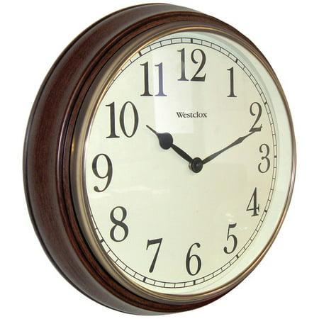"15.5"" Round Woodgrain Look Wall Clock"