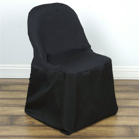 BalsaCircle Folding Round Polyester Chair Covers Slipcovers for Party Wedding Reception - Chair Covers For Wedding