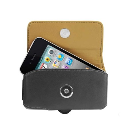 Cellet Black Noble Premium Leather Case Pouch Holster for iPhone 4 / 4G / 4S