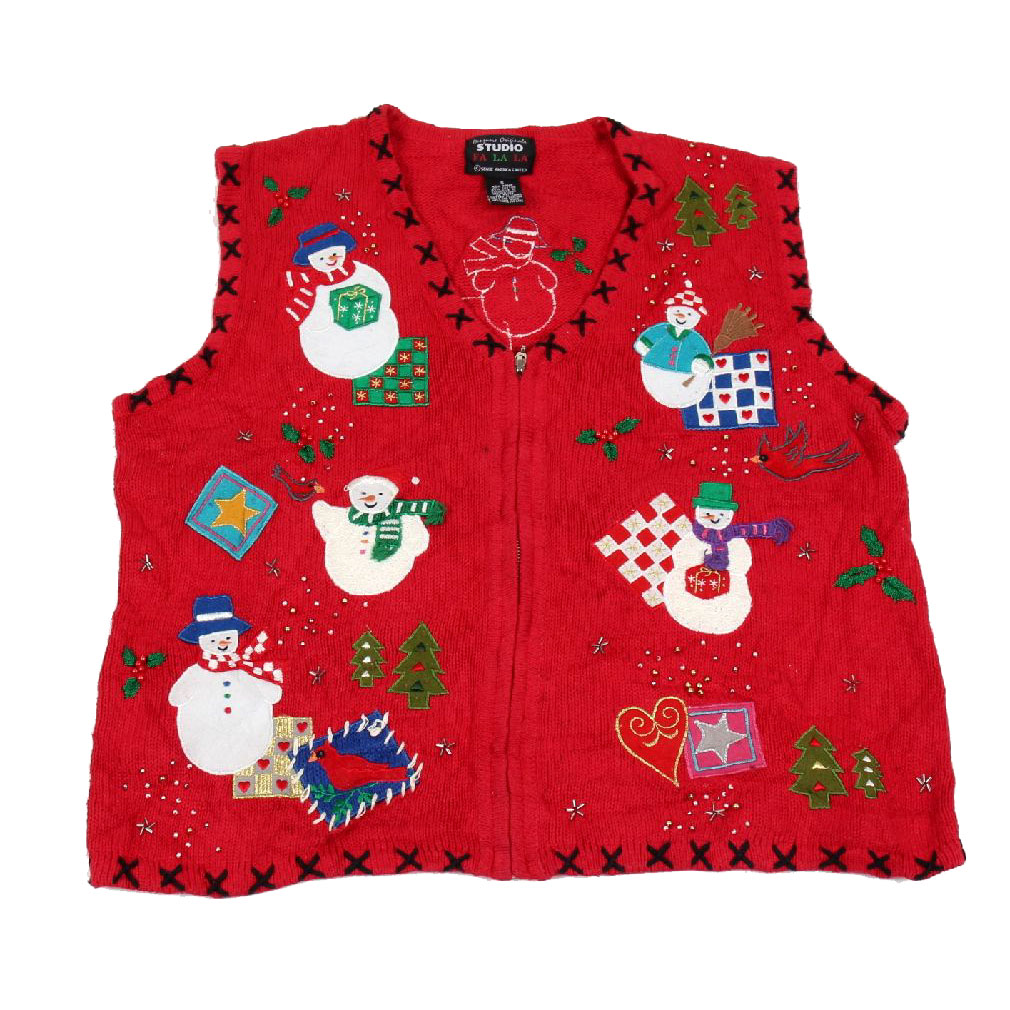 BuyYourTies - XVEST-2988 - Red  - Ugly Christmas Sweater Vest - Ladies - Small
