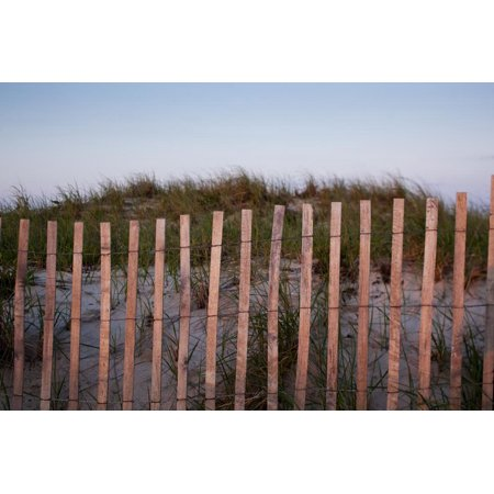 Fence in Sand Dunes, Cape Cod, Massachusetts Print Wall Art By Paul Souders