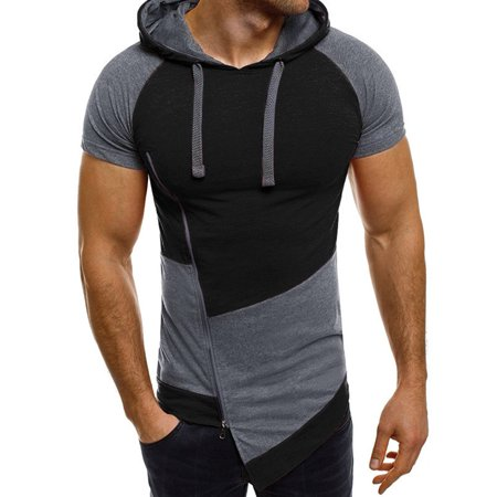 b7e6df895 PODOM - Men's Irregular Hem Slim Fit Short Sleeve Hoodies Slanted ...