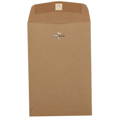 JAM Paper 6 x 9 Open End Catalog Envelopes with Clasp Closure, Brown Kraft,