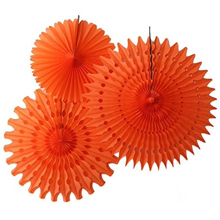 Hanging Orange Tissue Fan Decorations, Set of 3 (21 inch, 18 inch, 13 inch) by Devra Party - Tissue Fans