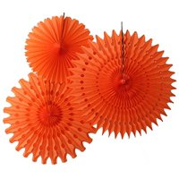 Hanging Orange Tissue Fan Decorations, Set of 3 (21 inch, 18 inch, 13 inch) by Devra Party