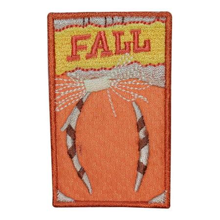 ID 1961A Fall Pumpkin Badge Patch Autumn Craft Embroidered Iron On Applique (Pumpkin Crafts)