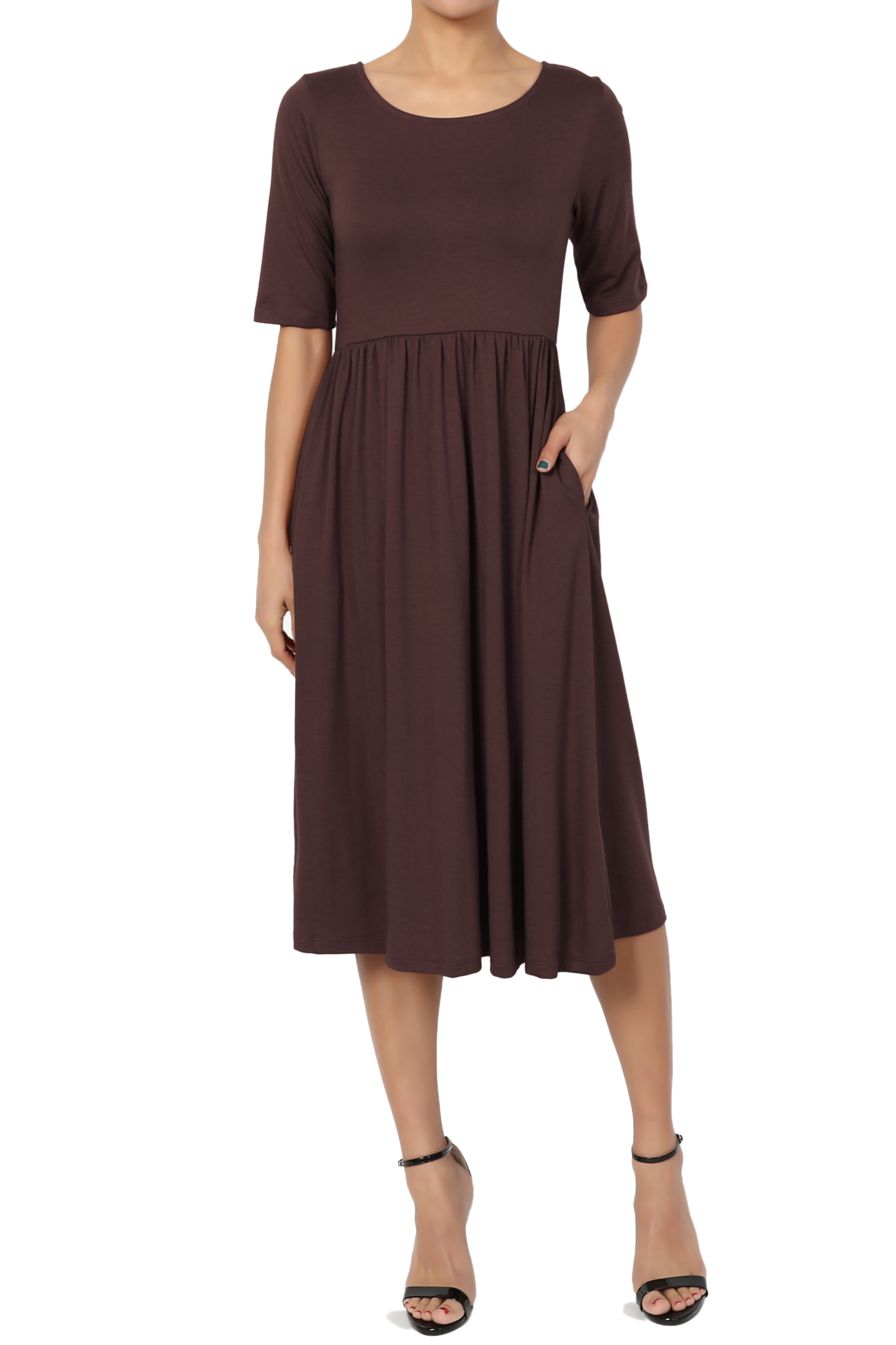 TheMogan Women's 1/2 Short Sleeve Pleated Empire Waist Fit & Flare Pocket Dress