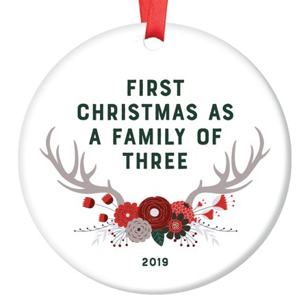 New Baby Gift 2019 Ornament First Christmas Family of Three 1st Time Mom Dad Parents Newborn Present Shower Woodland Theme Boho Floral Antlers Glossy Ceramic 3