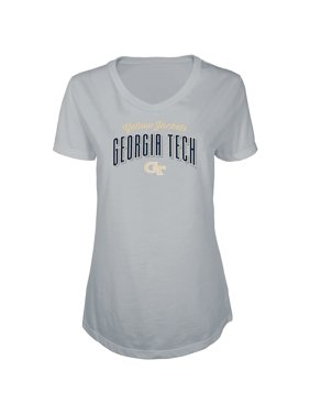 Women's Russell Heathered Gray GA Tech Yellow Jackets Tunic Cap Sleeve V-Neck T-Shirt