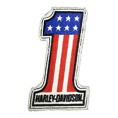Harley-Davidson Genuine #1 RWB Frayed Sew-On Emblem Patch, 4 x 2.5 in. HDEMF1012, Harley Davidson