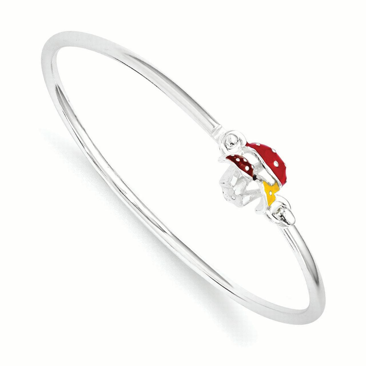 Roy Rose Jewelry Sterling Silver Enamel Kid's Mushroom Bangle Bracelet ~ Length 5.5'' inches