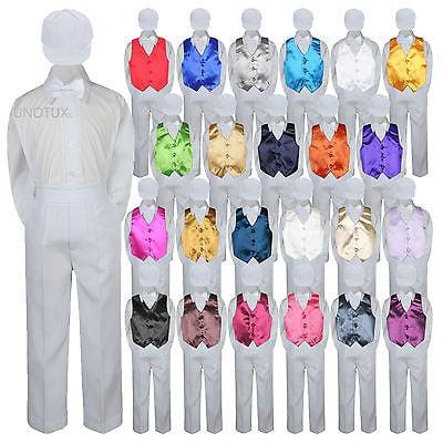 23 Color Vest White Bow Tie Hat Pants Boys Baby Toddler Formal Suits 5pc Set S-7 (White Tailored Suit)