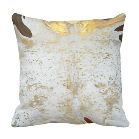 BPBOP Spotted Gold and White Cowhide Leather Print Pillowcase Throw Pillow Cover 20x20 inches