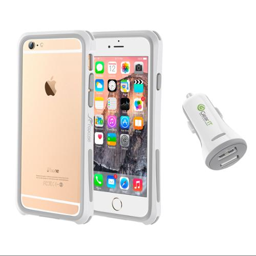 iPhone 6 Case Bundle (Case + Charger), roocase iPhone 6 4.7 Linear Bumper Open Back with Corner Edge Protection Case Cover with White 3.4A Car Charger for Apple iPhone 6 4.7-inch, White