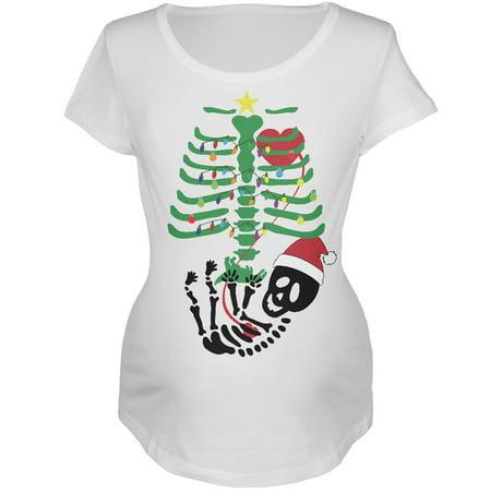 Christmas Tree Baby Skeleton Dinosaur White Maternity Soft T-Shirt Christmas Tree White T-shirt