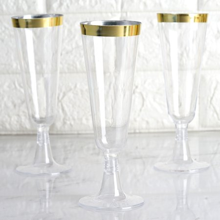 BalsaCircle 12 pcs 5 oz Clear with Gold Rim Plastic Glasses - Disposable Wedding Party Catering Tableware