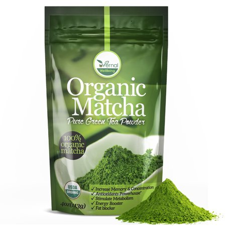 Organic Matcha Green Tea Powder - 100% Pure Matcha (No Sugar Added - Unsweetened Pure Green Tea - No Coloring Added Like Others)