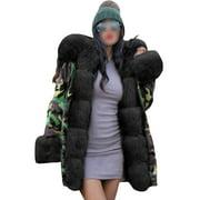 HIMONE Womens Thick Faux Fur Big Hooded Parka Long Overcat Peacoat Winter Coats Jackets Ladies Winter Warm Long Coat