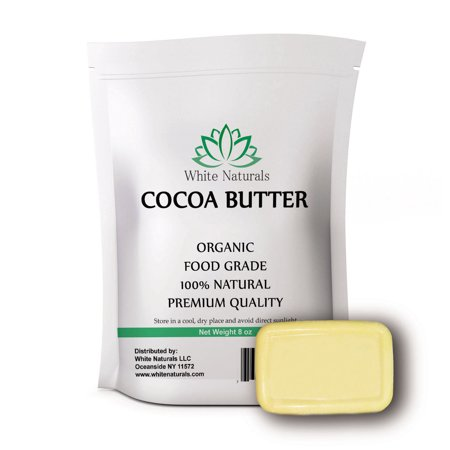 Organic Cocoa Butter 8oz,Unrefined, Raw, 100% Pure, Natural, Food Grade - For DIY Recipes, Body Butters, Soap Making, Lotion, Shampoo, Lip Balm By White Naturals