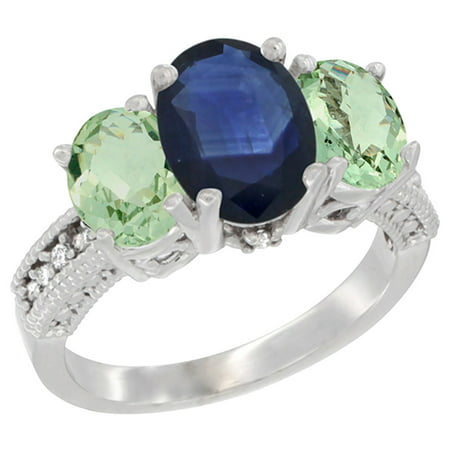 Natural Blue Sapphire Ring - 14K White Gold Diamond Natural Blue Sapphire Ring 3-Stone Oval 8x6mm with Green Amethyst, size 8