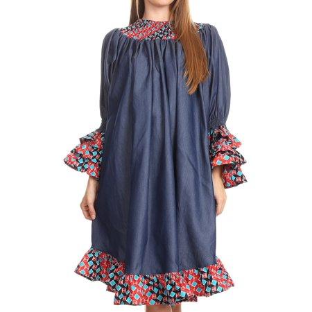 Holland Wax (Sakkas Folami Chambray and Ankara Wax Dutch Print Muumuu Dress Relax Fit - 2293 Red/turq-tile - One Size)