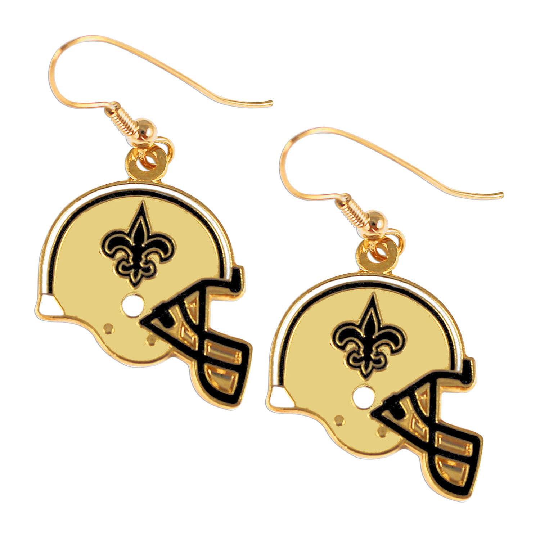New Orleans Saints Sports Team Logo Helmet Shaped J-Hook Gold Tone Earring Set Charm Gift