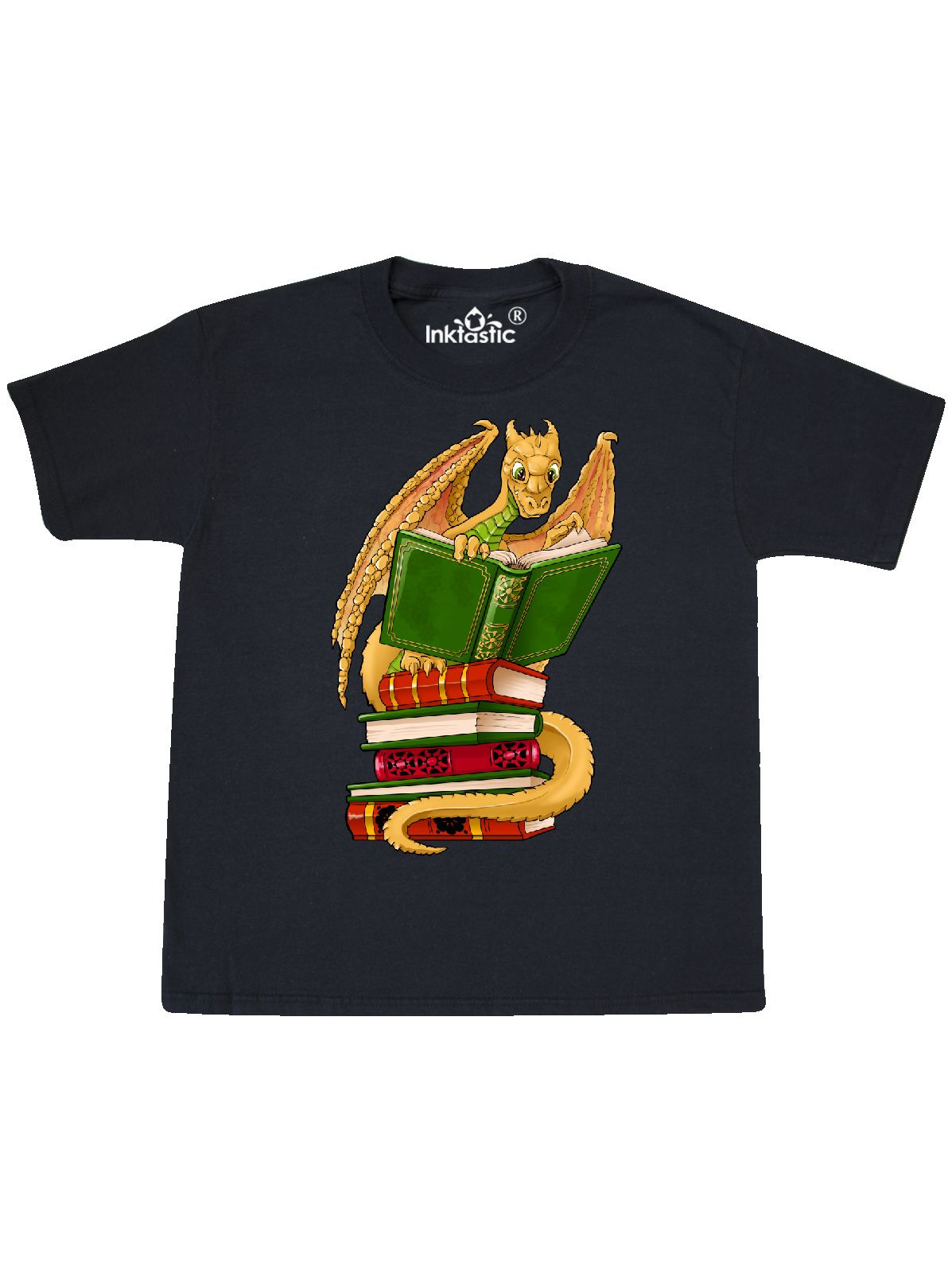 Well-Read Cute Gold Dragon Reading Books Youth T-Shirt