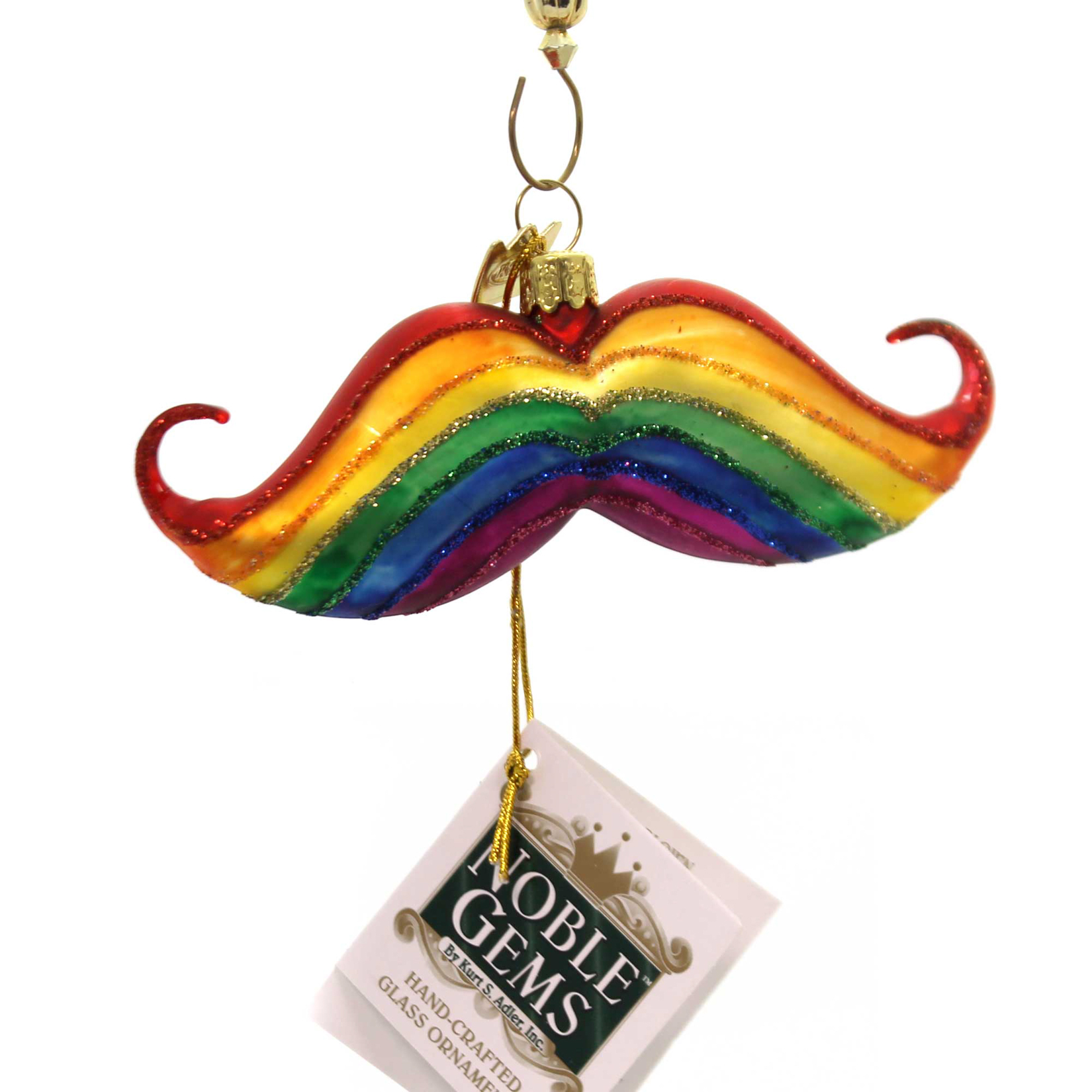 Noble Gems RAINBOW PRIDE Glass Ornament Gay Nb1149 Mustache
