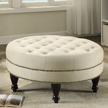 Coaster Home Furnishings Modern Traditional Round Tufted Upholstered Ottoman with Turned Legs and Double Row Bronze Nailhead Trim - Oatmeal Fabric / Espresso