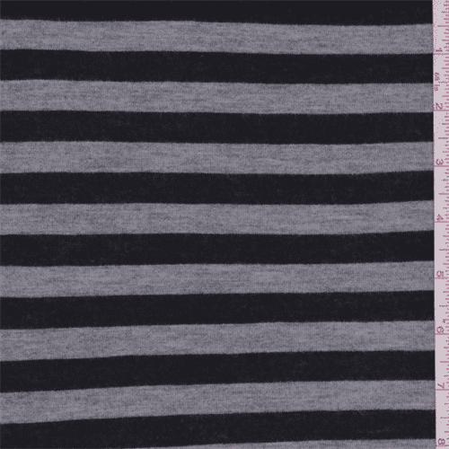 Black/Grey Stripe Jersey Knit, Fabric By the Yard