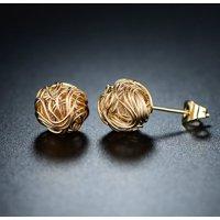 Barzel 18k Gold Plated Woven Love Knot Stud Earrings