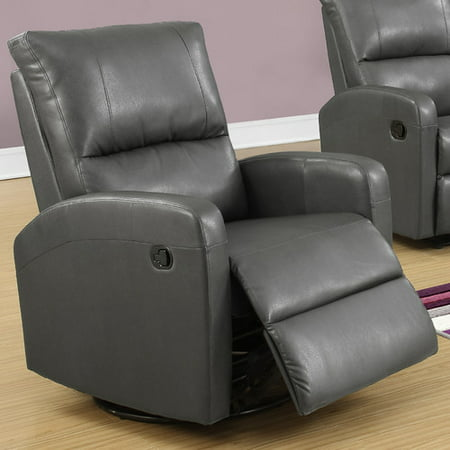 (Monarch Recliner Swivel Glider / Charcoal Grey Bonded Leather)