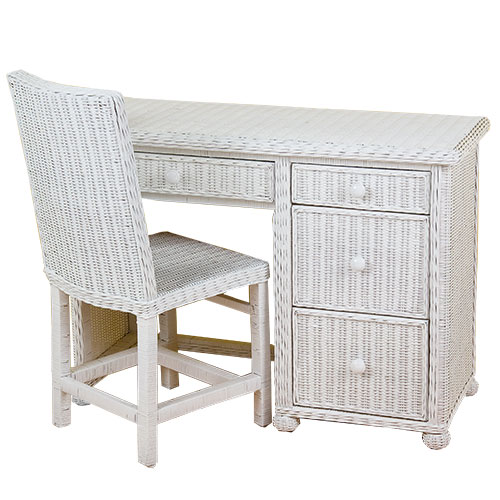 Wicker Desk with Chair & Keyboard Drawer, White