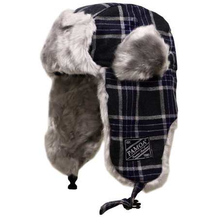 Pamoa Pmtr120 Wool Plaid Winter Trapper Bomber Hat - Navy ()
