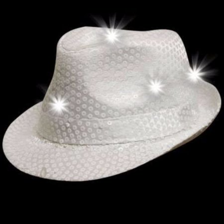 LED Flashing Fedora Hat with White Sequins (White Fedoras)