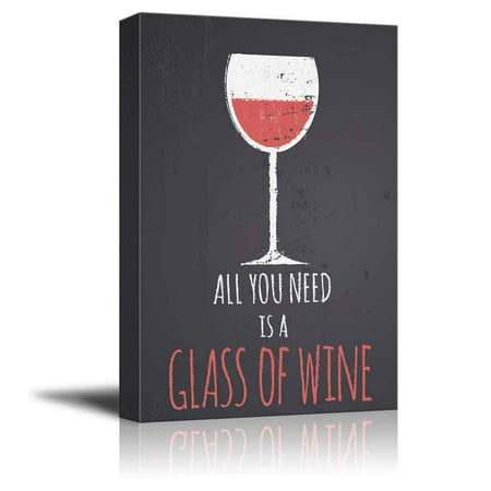 - Wall26 - Chalkboard Style Illustration with a Glass of Red Wine - Canvas Art Wall Decor - 32