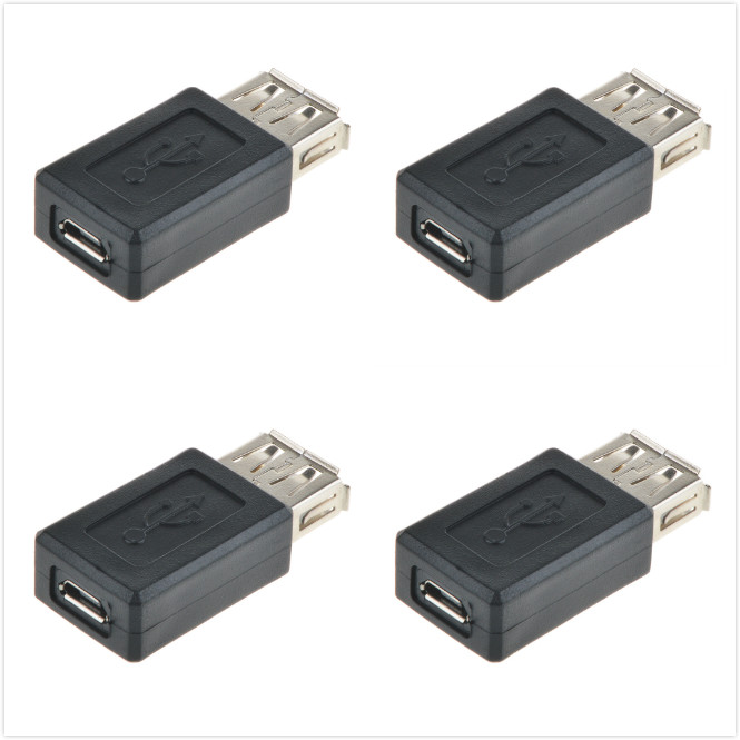 JerGO 4 Pack USB 2.0 A Female to USB Micro Female Adapter Converter - USB Female t