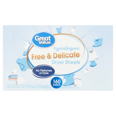 (2 Pack) Great Value Free & Delicate Hypoallergenic Dryer Sheets, 160